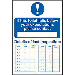 """Spectrum Industrial Self-Adhesive PVC """"This Toilet Is Inspected…"""" Sign"""