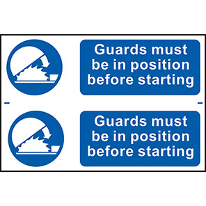 """Spectrum Industrial """"Guards Must Be In Position"""" Sign (Pack of 2)"""