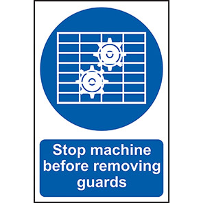 """Spectrum Industrial """"Stop Machine Before Removing Guards"""" Sign"""