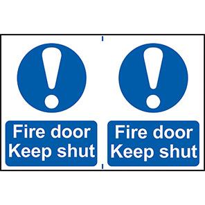 """Spectrum Industrial """"Fire Door Keep Shut"""" Sign (Pack of 2)"""