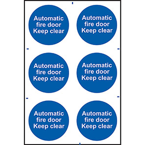 """Spectrum Industrial """"Automatic Fire Door Keep Clear"""" Sign (Pack of 6)"""