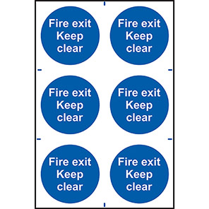 """Spectrum Industrial """"Fire Exit Keep Clear"""" Sign (Pack of 6)"""