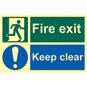 Fire Exit Keep Clear Running Man Right Signs