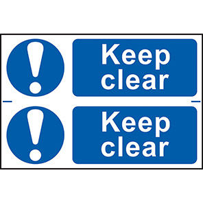 """Spectrum Industrial Self-Adhesive """"Keep Clear"""" Sign (Pack of 2)"""
