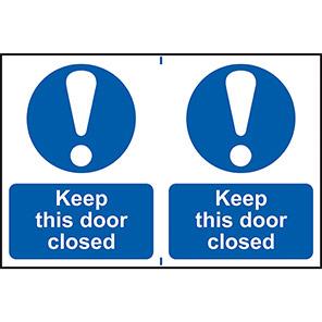 "Spectrum Industrial ""Keep This Door Closed"" Sign (Pack of 2)"