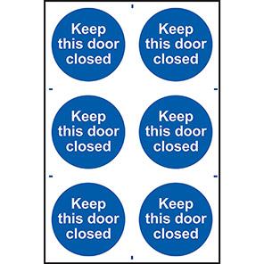"Spectrum Industrial ""Keep This Door Closed"" Sign (Pack of 6)"