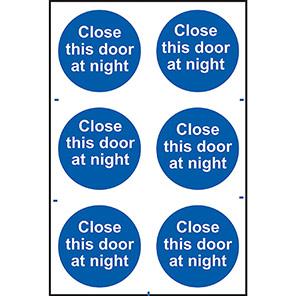 "Spectrum Industrial ""Close This Door At Night"" Sign (Pack of 6)"