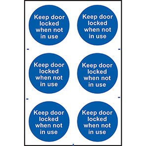 """Spectrum Industrial """"Keep This Door Locked When Not In Use"""" Sign (Pack of 6)"""