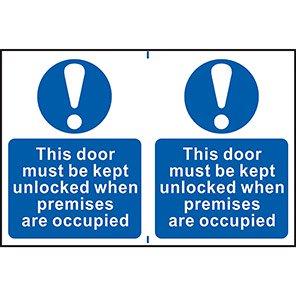 """Spectrum Industrial """"This Door Must Be Kept Unlocked"""" Sign (Pack of 2)"""