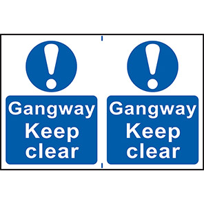 """Spectrum Industrial """"Gangway Keep Clear"""" Sign (Pack of 2)"""