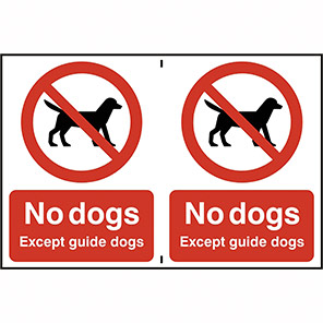 """Spectrum Industrial """"No Dogs Except Guide Dogs"""" Window Sign (Pack of 2)"""