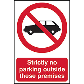 """Spectrum Industrial Self-Adhesive PVC """"Strictly No Parking..."""" Sign"""