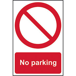 """Spectrum Industrial Self-Adhesive PVC """"No Parking"""" Sign"""
