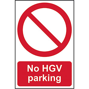 "Spectrum Industrial Self-Adhesive PVC ""No HGV Parking"" Sign"