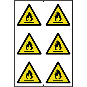 Spectrum Industrial Flammable Symbol Sign 100mm x 100mm (Pack of 6)