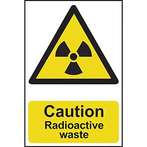 "Spectrum Industrial Self-Adhesive PVC ""Caution Radioactive Waste"" Sign"