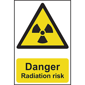 "Spectrum Industrial Self-Adhesive PVC ""Danger Radiation Risk"" Sign"