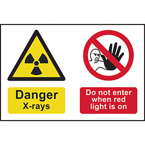 """Spectrum Industrial """"Danger X-Rays Do Not Enter When Red Light Is On"""" Sign"""