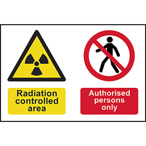 """Spectrum Industrial """"Radiation Controlled Area/Authorised Persons Only"""" Sign"""