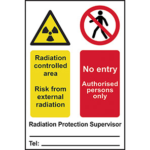 """Spectrum Industrial """"Radiation Controlled Area/No Entry"""" Sign"""