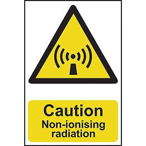 """Spectrum Industrial Self-Adhesive PVC """"Caution Non-Ionising Radiation"""" Sign"""