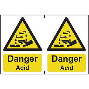 "Spectrum Industrial ""Danger Acid"" Sign (Pack of 2)"