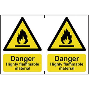 """Spectrum Industrial """"Highly Flammable Material"""" Sign 150mm x 200mm (Pack of 2)"""