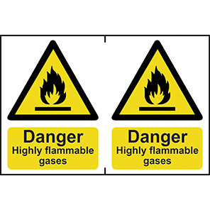 """Spectrum Industrial """"Highly Flammable Gases"""" Sign 150mm x 200mm (Pack of 2)"""