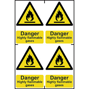 """Spectrum Industrial """"Highly Flammable Gases"""" Sign 100mm x 150mm (Pack of 4)"""