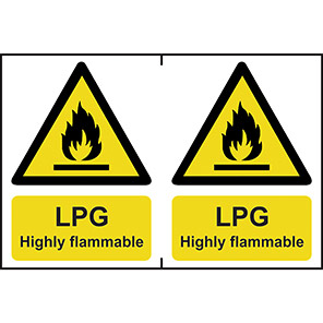 """Spectrum Industrial """"LPG Highly Flammable"""" Sign 150mm x 200mm (Pack of 2)"""