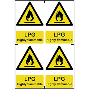 """Spectrum Industrial """"LPG Highly Flammable"""" Sign 100mm x 150mm (Pack of 4)"""