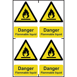"""Spectrum Industrial """"Highly Flammable Liquid"""" Sign 100mm x 150mm (Pack of 4)"""