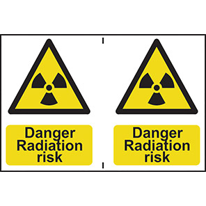 "Spectrum Industrial Self-Adhesive PVC ""Danger Radiation Risk"" Sign (Pack of 2)"