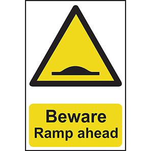 "Spectrum Industrial Self-Adhesive ""Beware Ramp Ahead"" Sign"