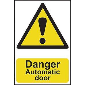 """Spectrum Industrial PVC """"Danger Automatic Door"""" Sign"""