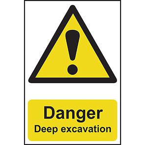 """Spectrum Industrial """"Danger Deep Excavation"""" Sign"""