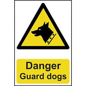 "Spectrum Industrial Self-Adhesive PVC ""Danger Guard Dogs"" Hazard Sign"