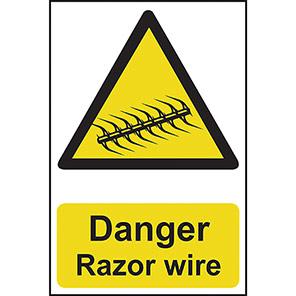 "Spectrum Industrial Self-Adhesive PVC ""Danger Razor Wire"" Sign 200mm x 300mm"