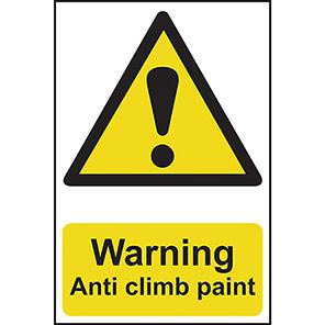 "Spectrum Industrial Self-Adhesive ""Warning Anti Climb Paint"" Sign"