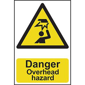 """Spectrum Industrial Self-Adhesive """"Danger Overhead Hazard"""" Sign 200mm x 300mm"""