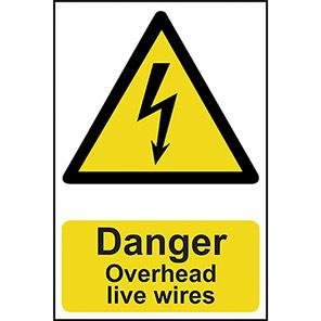 "Spectrum Industrial PVC ""Danger Overhead Live Wires"" Sign 200mm x 300mm"