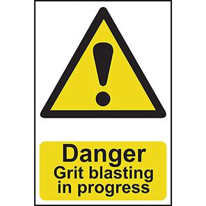 """Spectrum Industrial """"Danger Grit Blasting In Progress"""" Sign"""