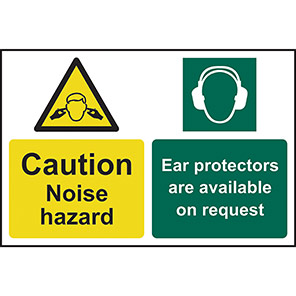 """Spectrum Industrial """"Caution Noise Hazard Ear Protectors Are Available"""" Sign"""