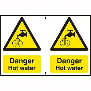 "Spectrum Industrial ""Danger Hot Water"" Sign 150mm x 200mm (Pack of 2)"