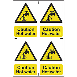 """Spectrum Industrial PVC """"Caution Hot Water"""" Sign (Pack of 4)"""
