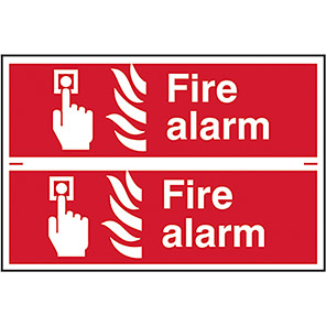 """Spectrum Industrial """"Fire Alarm"""" Sign 100mm x 300mm (Pack of 2)"""