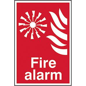 "Spectrum Industrial Self-Adhesive PVC ""Fire Alarm"" Sign"