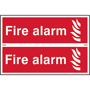 """Spectrum Industrial Self-Adhesive """"Fire Alarm"""" Sign 100mm x 300mm (Pack of 2)"""