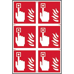 Spectrum Industrial Fire Alarm Symbol Sign 100mm x 100mm (Pack of 6)