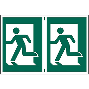 Spectrum Industrial Fire Exit Left Running Man Sign (Pack of 2)